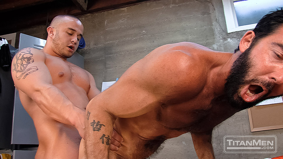 Gay men fucking at work