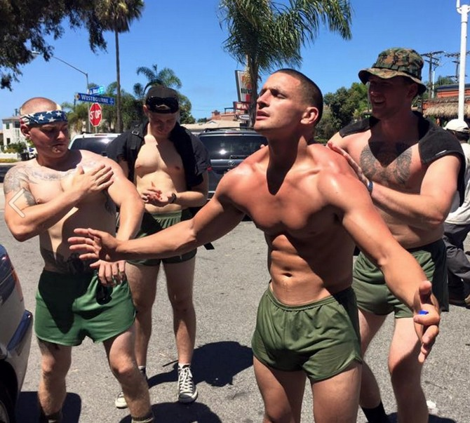 Shirtless Military Men Walk To Raise Awareness For PTSD