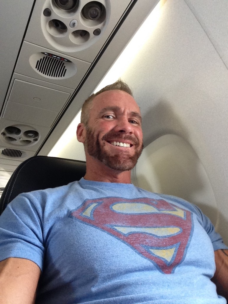 Dallas Steele On An Airplane Flying To His Porn Shoot With TitanMen.com