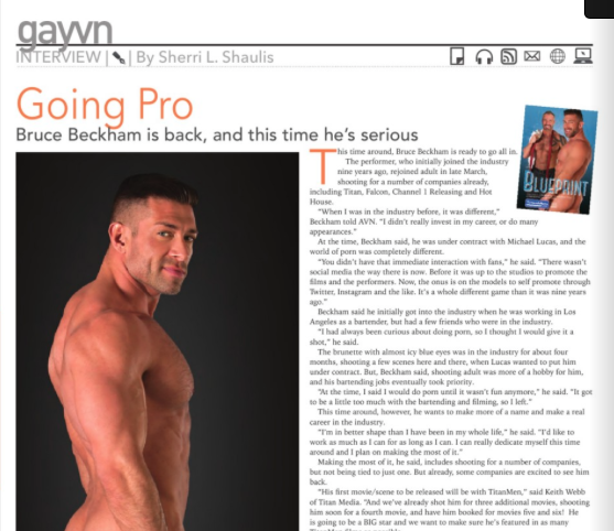 Bruce Beckham featured in AVN Magazine.